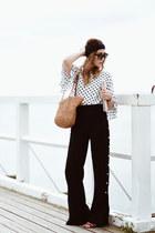polka dot Orsay blouse - wide leg Zara pants