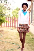pink cardigan - brown skirt - blue shirt - blue scarf
