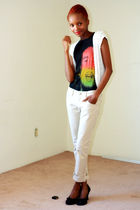 black favorite t-shirt - black shoes - white vest - beige pants