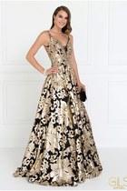 black v-neck ABC Fashion dress