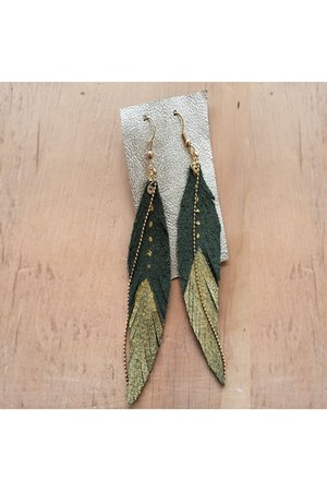 olive green feathers Vangania earrings
