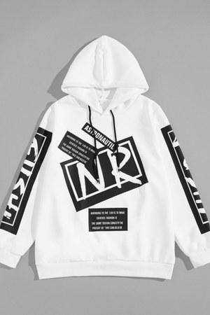 white drawstring hoodie