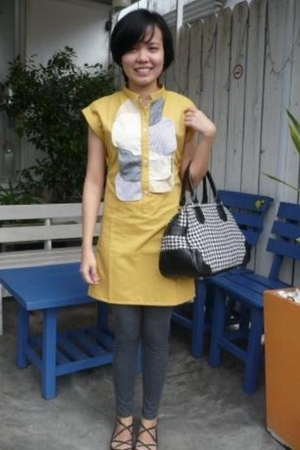Maldita yellow dress - Plains and Prints houndstooth bag - bazaar leggings - Top