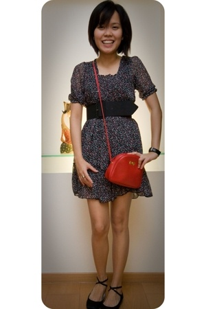 vintage chiffon dress - brandless black cinch belt - Nina Ricci red bag - random