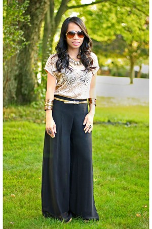 sheer TJ Maxx pants - lace floral Rue 21 blouse - nude Forever 21 pumps