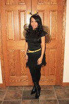 black boots - yellow belt - black top - tutu skirt