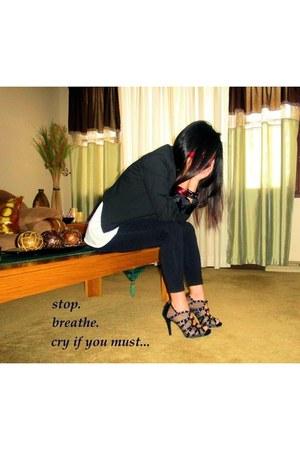 black Mossimo blazer - Ann Michelle heels - Body Central accessories - white tan