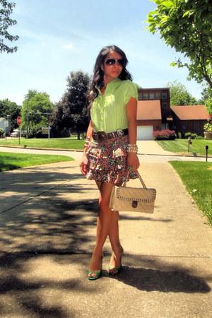 green michael antonio shoes - beige flap nicole lee bag - brown aviator sunglass