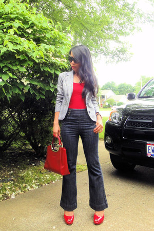 Wet Seal blazer - red purse - red tank top Mossimo top - red pumps - high-waiste