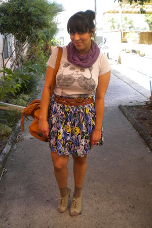purple ModClothcom scarf - brown Forever 21 skirt - brown unknown socks - Foreve