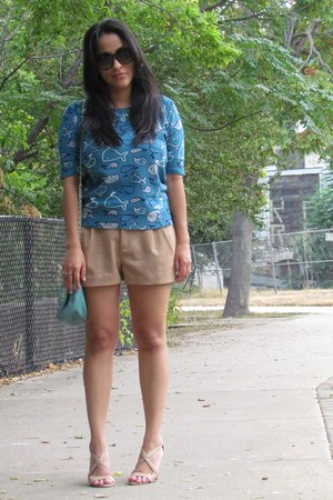beige H&M shorts - turquoise blue Urban Outfitters sweater - sky blue asos bag