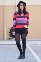 striped Old Navy sweater - black asos boots