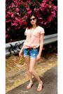 Brown-zara-belt-pink-zara-t-shirt-blue-zara-shorts-blue-ray-ban-sunglasses