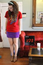red t-shirt - brown vintage boots - purple suede vintage skirt