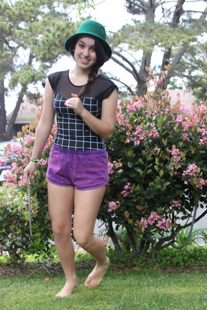 purple American Apparel shorts - black American Apparel dress - green hat