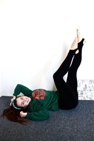 green sweater - black American Apparel leggings