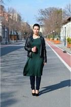 black leather Zara jacket - black suede glow fashion heels