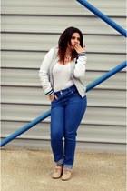 silver varsity jacket Terranova blazer - blue denim no name jeans