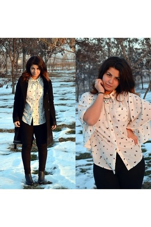 black skinny c&a jeans - black paolo bocelli boots - black baroque camaieu coat