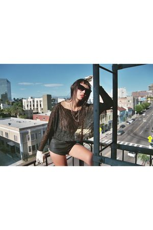 black black moth shirt - black moth shorts - evanie fraust sunglasses - adri law