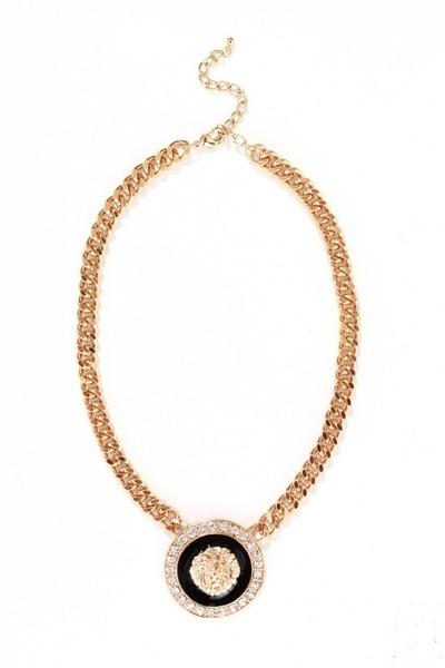 gold lion medallion necklace