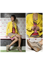 purple rain dress - yellow Ark & Co blazer - silver j shoes wedges