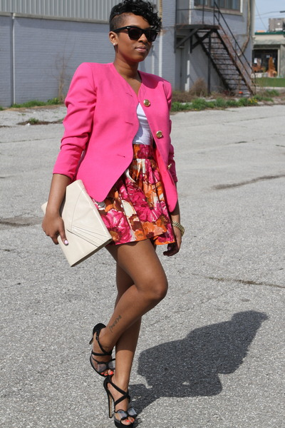 hot pink thrifted blazer - white H&M top - hot pink Forever 21 skirt - black Bet