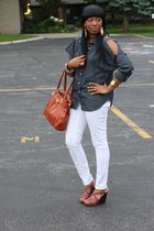 navy BCBG shirt - burnt orange Aldo bag - white H&M pants - crimson Old Navy wed