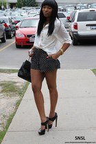 white H&M shirt - black polka dot H&M skirt - black Miu Miu heels