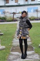 black Forever 21 top - mustard Forever 21 skirt - black Steve Madden heels - gra