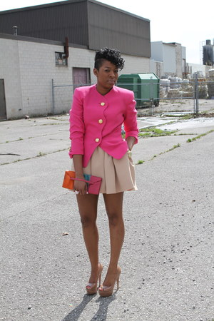 pink thrifted blazer - carrot orange thrifted purse - camel Zara skirt - brown P