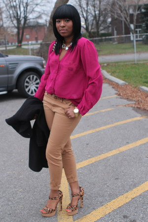 hot pink Forever 21 top - tan Zara pants