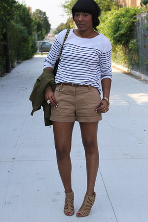 white Zara top - brown Zara shorts - bronze Vince Camuto heels