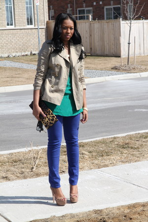 blue Cheap Monday jeans - teal Forever 21 top - light brown Prada heels