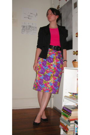 black thrifted blazer - pink top - black thrifted belt - purple thrifted skirt -