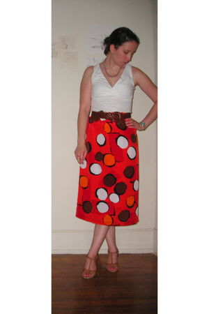 brown pearl necklace - white Target top - orange thrifted skirt - brown Grandmot