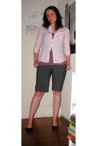 pink blouse - purple top - gray shorts - black shoes