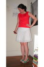 Red-thrifted-top-white-skirt-green-go-jane-shoes-blue-watch-accessories-