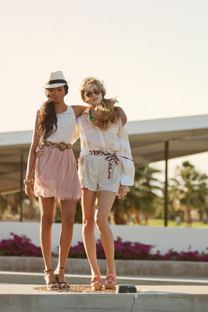 pink dress - beige hat - eggshell shorts - brown belt - light pink top