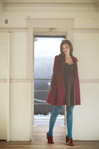 dark brown dress - crimson jacket - blue tights - brick red heels