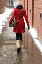 red Bedo coat - beige Sorel boots - black Zara leggings - brown dvf purse
