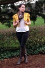 Dark-brown-boots-black-tommy-hilfiger-jeans-yellow-jacket-ivory-top