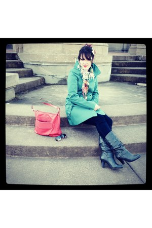 turquoise blue trench Mossimo coat - charcoal gray ANA boots