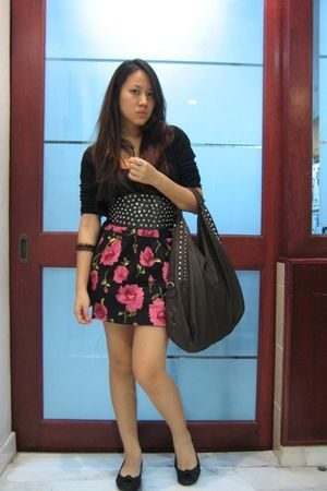 top - cardigan - belt - skirt - shoes - Bag