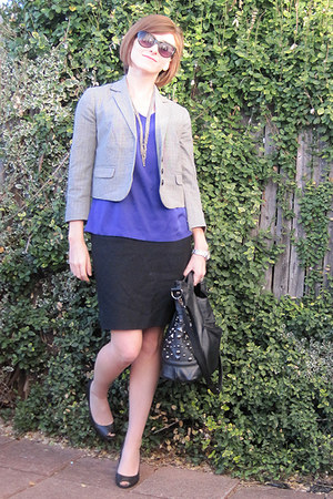 deep purple Express shirt - black Talbots skirt - black New Twist shoes - silver