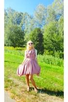 pink DIY dress - cream bird pull&bear cardigan - flats