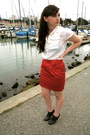Red-f21-skirt-white-f21-blouse-black-f21-shoes