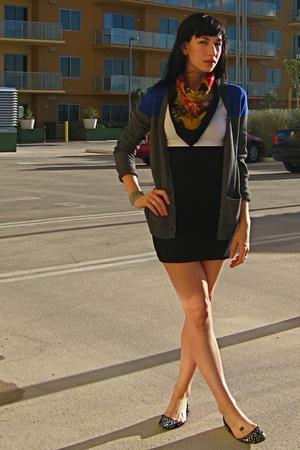 gray Gap cardigan - American Apparel dress - black Steve Madden shoes