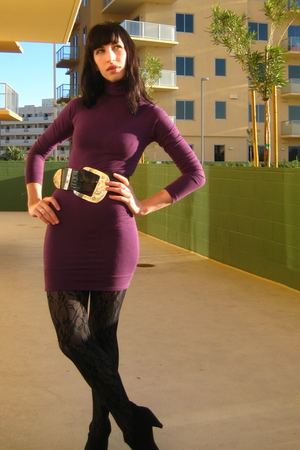 purple American Apparel dress - vintage belt
