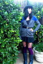 gray Gap sweater - black American Apparel skirt - black unknown hat - blue vinta